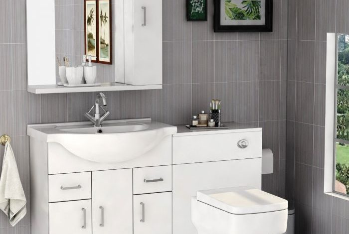 Photo of Bathroom Furniture In Black And White Gloss Unit Category